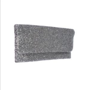 Moyna beaded clutch in antique silver